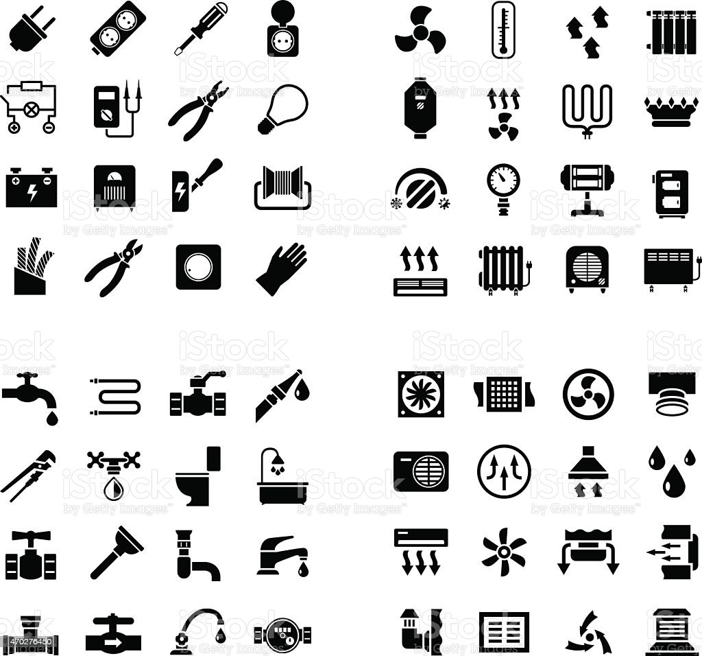 House system icons. Set icons of electricity, heating, plumbing, ventilation vector art illustration