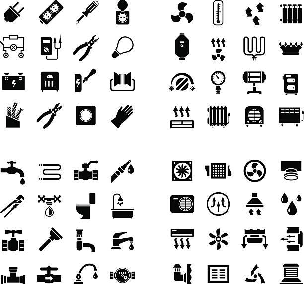 ilustrações, clipart, desenhos animados e ícones de casa sistema de ícones. conjunto de ícones de electricidade, nem de aquecimento, ventilação, de encanamento - eletricista