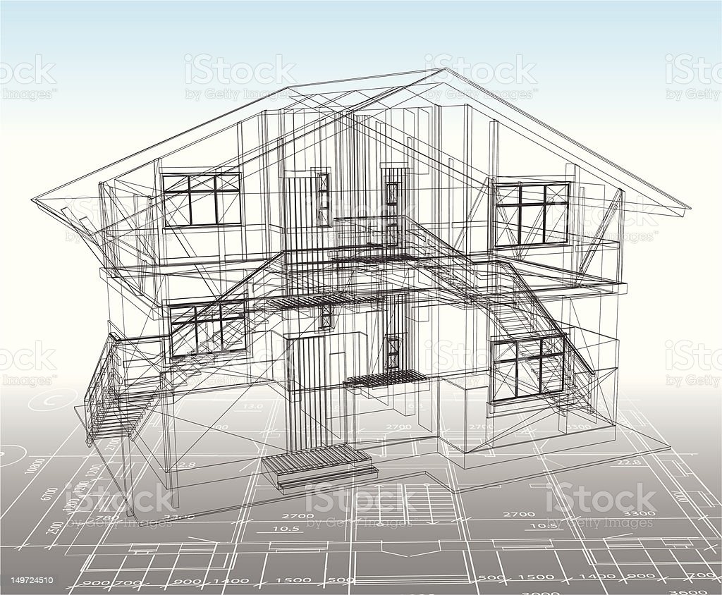 House technical draw. Vector royalty-free stock vector art
