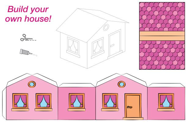 House template - sweet pink comic cottage - cut out, fold and glue it. Isolated vector illustration on white background. House template - sweet pink comic cottage - cut out, fold and glue it. Isolated vector illustration on white background. dollhouse stock illustrations