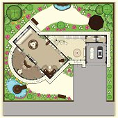 House plan with furnishing. The Ground floor. Plan for landscaping area of residential house with ponds and arbor.