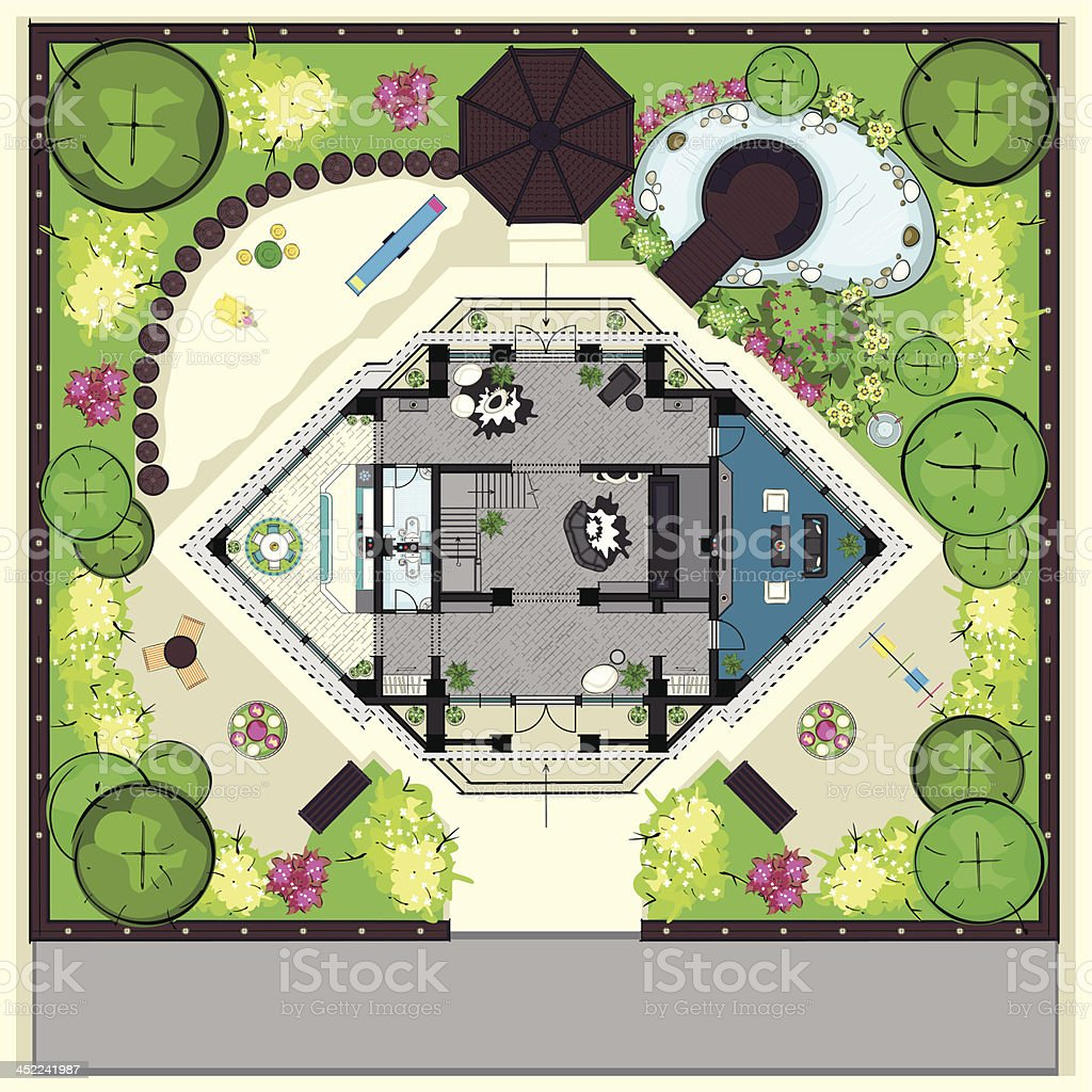 House top plan with a furnishing and big ganden vector art illustration