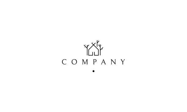 house tree vector logo - real estate logos stock illustrations, clip art, cartoons, & icons