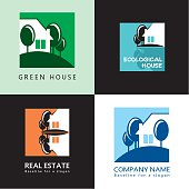 House, trees, abstract graphic symbol, vector icon, sign.