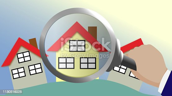 House under a magnifying lens.