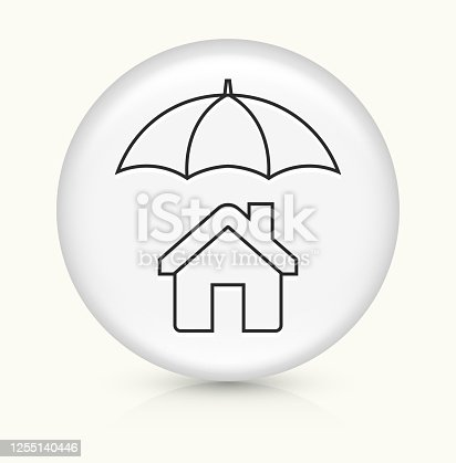 House Under Umbrella Icon. This 100% royalty free vector illustration is featuring a round button with a drop shadow and the main icon is depicted in black. The button had a slight bevel 3D effect.