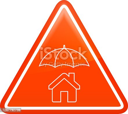 House Under Umbrella Icon. This 100% royalty free vector illustration is featuring the main icon on a red triangular button with a slight 3D bevel effect.