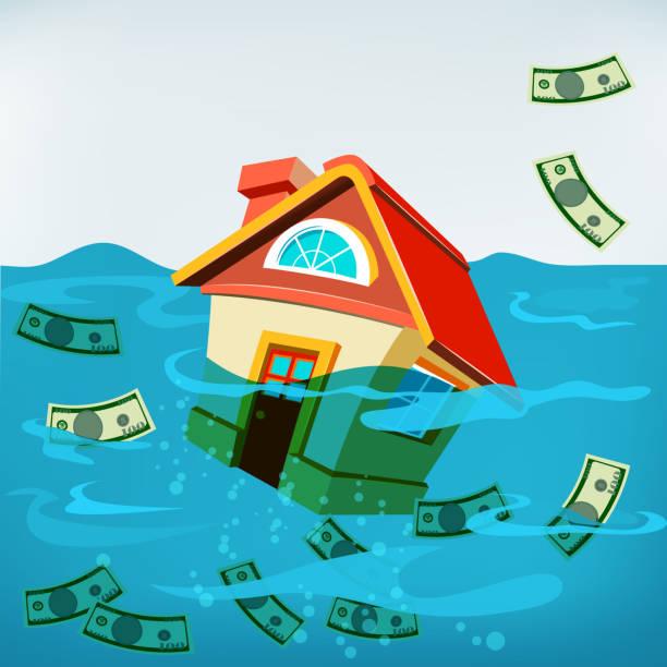 ハウスの水中 ベクターアートイラスト