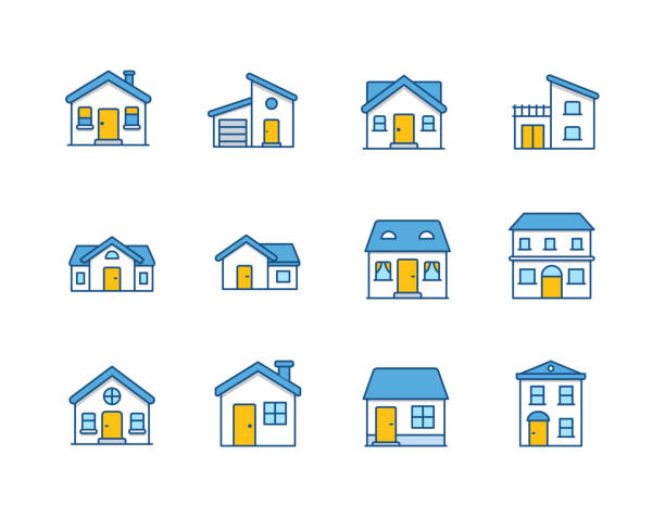 House vector flat illustration / Home flat icon set House vector flat illustration / Home flat icon set. eps 10 front door stock illustrations