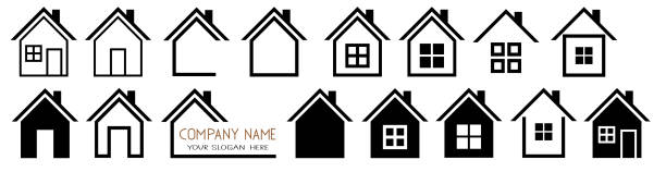 House vector icons Set logo symbols on white House vector icons Set on white background. Simple flat symbols. Solid linear house logo sheltering stock illustrations
