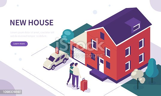 Young family standing near new house. Can use for web banner, infographics, hero images. Flat isometric vector illustration isolated on white background.