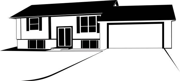 ilustrações de stock, clip art, desenhos animados e ícones de house - driveway, no people