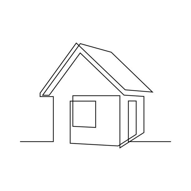 House Abstract small house in continuous line art drawing style. Real estate minimalist black linear sketch isolated on white background. Vector illustration architecture illustrations stock illustrations