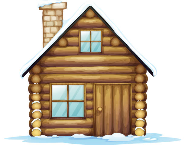house - log cabin stock illustrations, clip art, cartoons, & icons