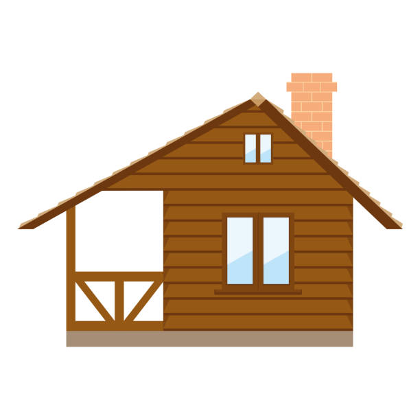 house vector illustration isolated - log cabin stock illustrations, clip art, cartoons, & icons