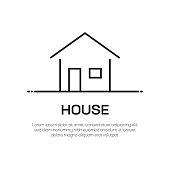 House Vector Line Icon - Simple Thin Line Icon, Premium Quality Design Element