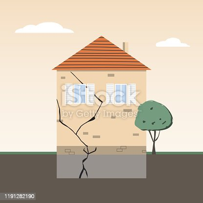 istock House Wall with Crack in Foundation 1191282190