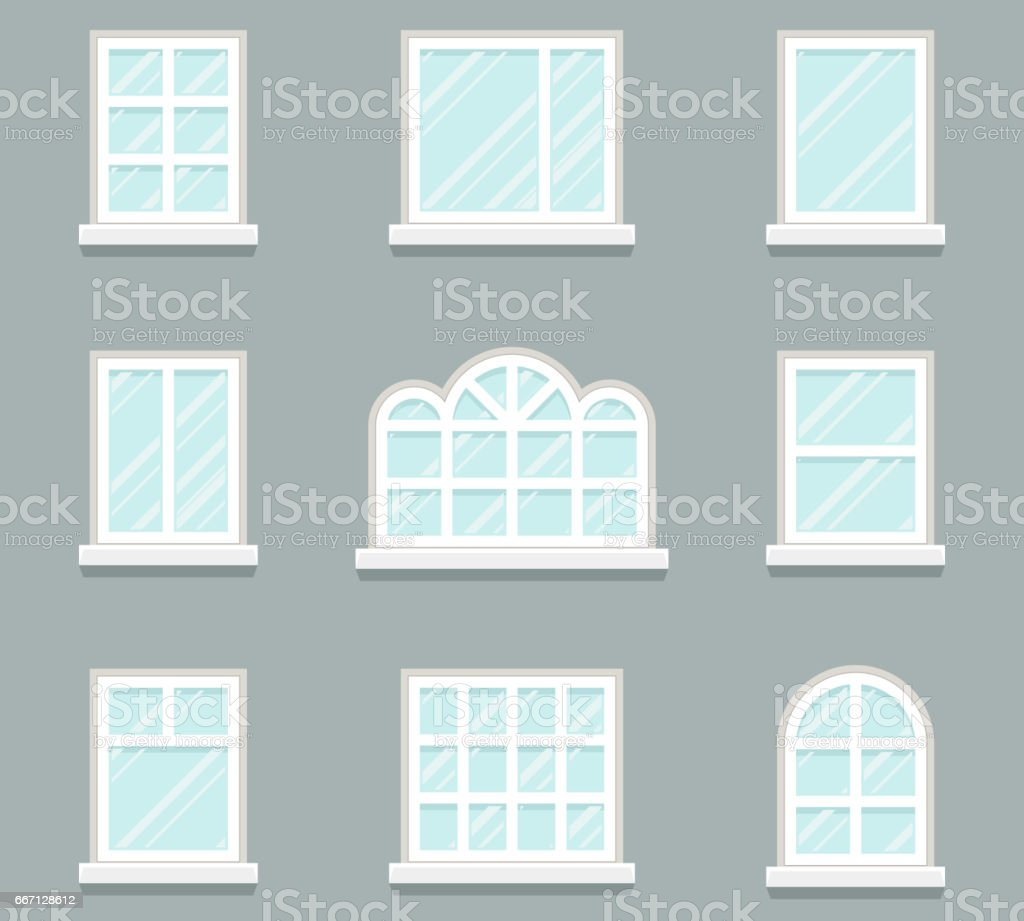 House Windows Building Glass Icons Set Flat Design Template Vector ...