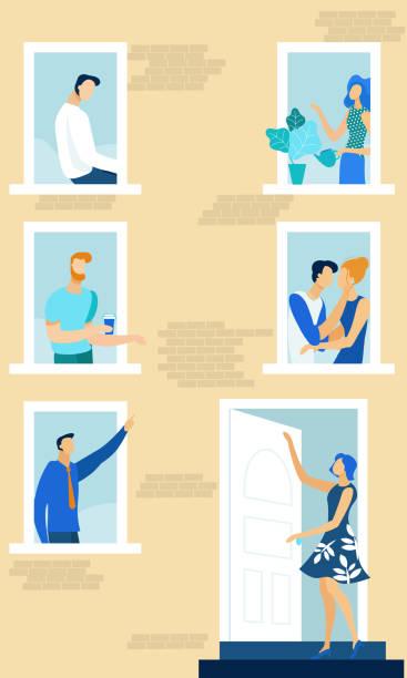 stockillustraties, clipart, cartoons en iconen met huis ramen met buren doen dagelijkse dingen. - buren