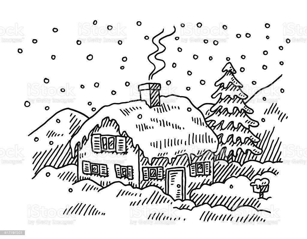 Maison dessin neige en hiver maison dessin neige en hiver vecteurs libres de droits et plus