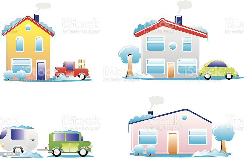House winter royalty-free stock vector art