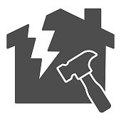 istock House with a crack and hammer solid icon, house repair concept, Reconstruction sign on white background, Destroyed building with hummer icon in glyph style for mobile, web. Vector graphics. 1264198495