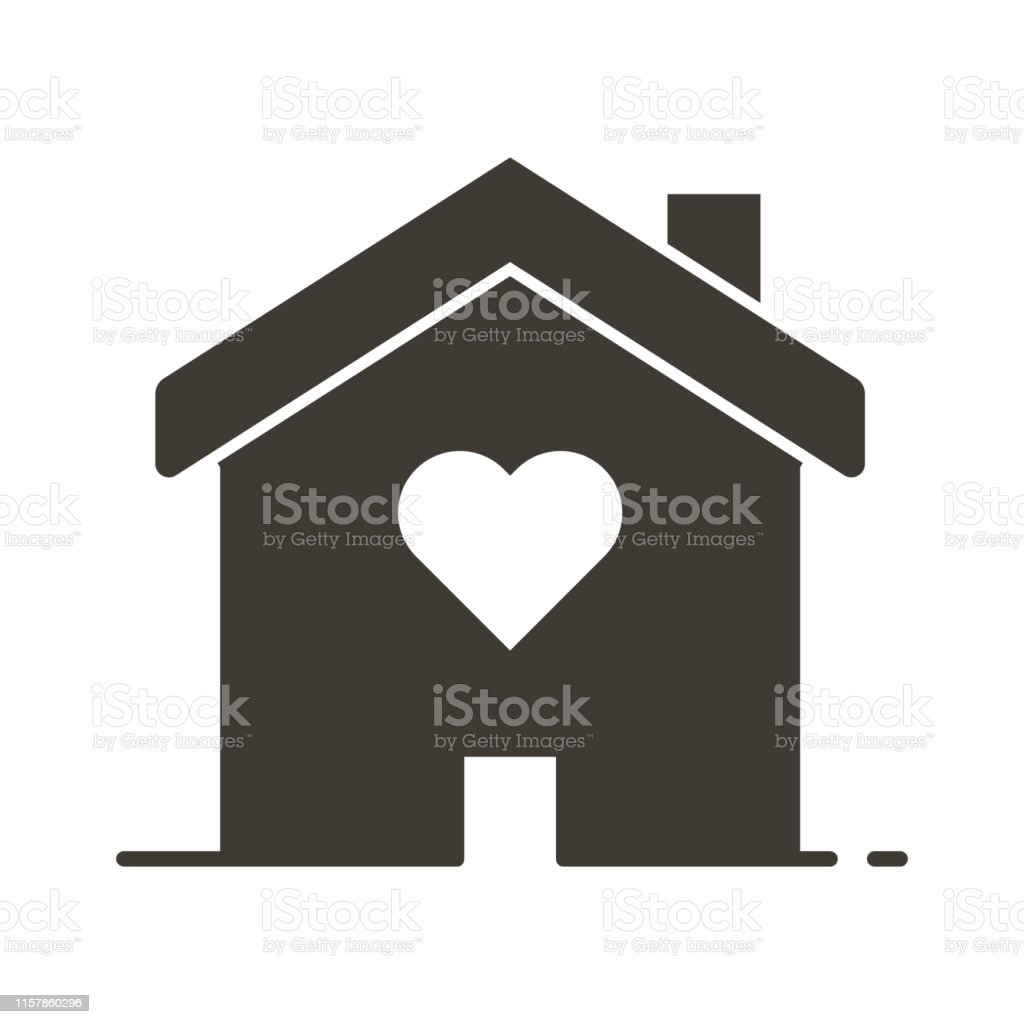 Terrific House With A Heart Shape Inside Love Home Icon Vector Flat Home Remodeling Inspirations Genioncuboardxyz
