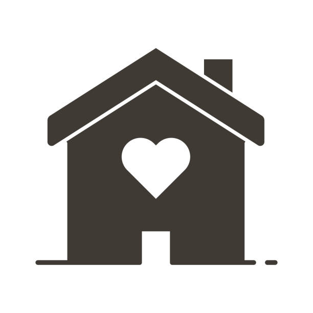 House with a heart shape inside. Love home icon. Vector flat glyph illustration concept for wedding services, love, romance and volunteering and charity organizations, social services. Vector eps10 sheltering stock illustrations