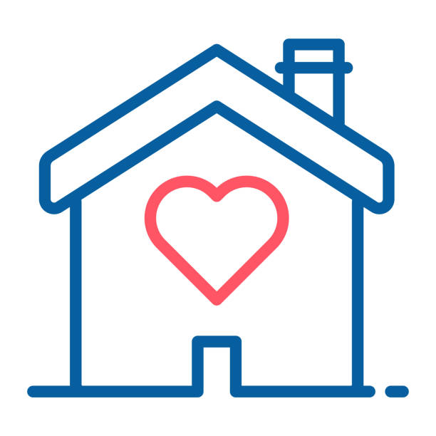 House with a heart shape inside. Love home icon. Vector thin line illustration concept for wedding services, love, romance and volunteering and charity organizations, social services. vector eps10 animal shelter stock illustrations