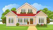 House with a lawn. Cartoon style background. Vector illustration.