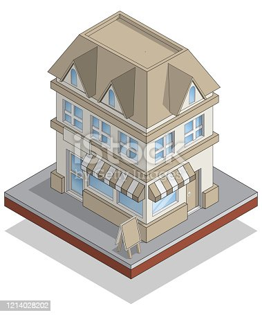 istock House with a shop. 1214028202