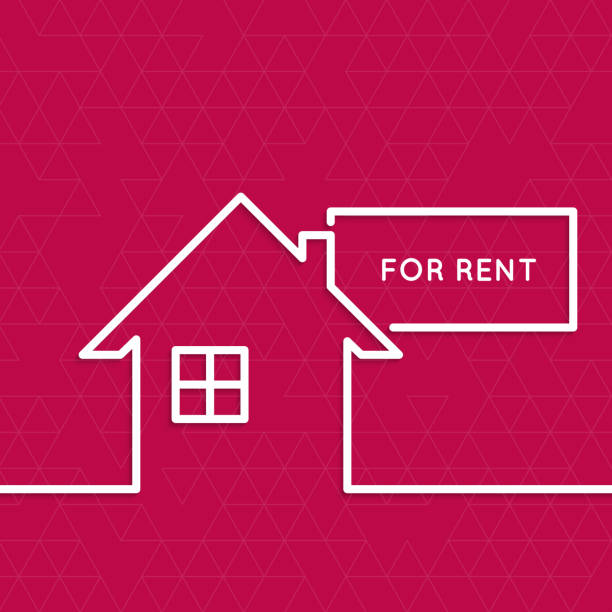 House with a sign for rent vector art illustration