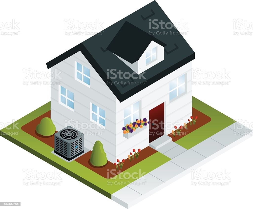 House with Air Conditioner vector art illustration