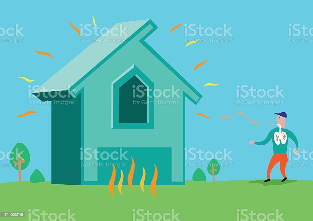House with Asbestos, Radon Radiation or in flames vector art illustration