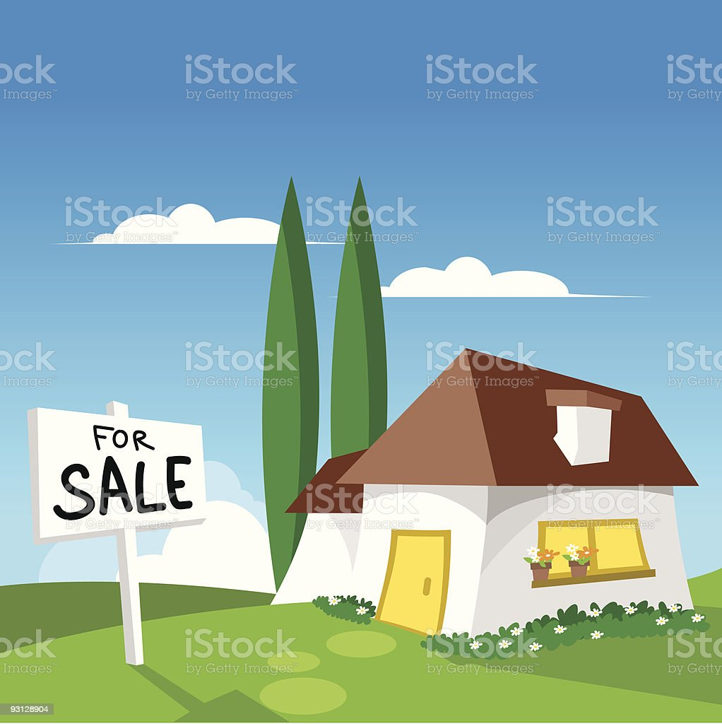 House with brown roof and yellow door for sale royalty-free stock vector art