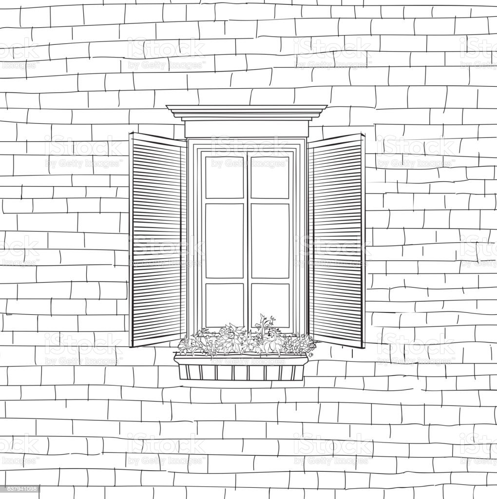 House with classical window engraving background. Shabby brick w vector art illustration