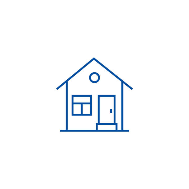 House with door line icon concept. House with door flat  vector symbol, sign, outline illustration. House with door line concept icon. House with door flat  vector website sign, outline symbol, illustration. front stoop stock illustrations