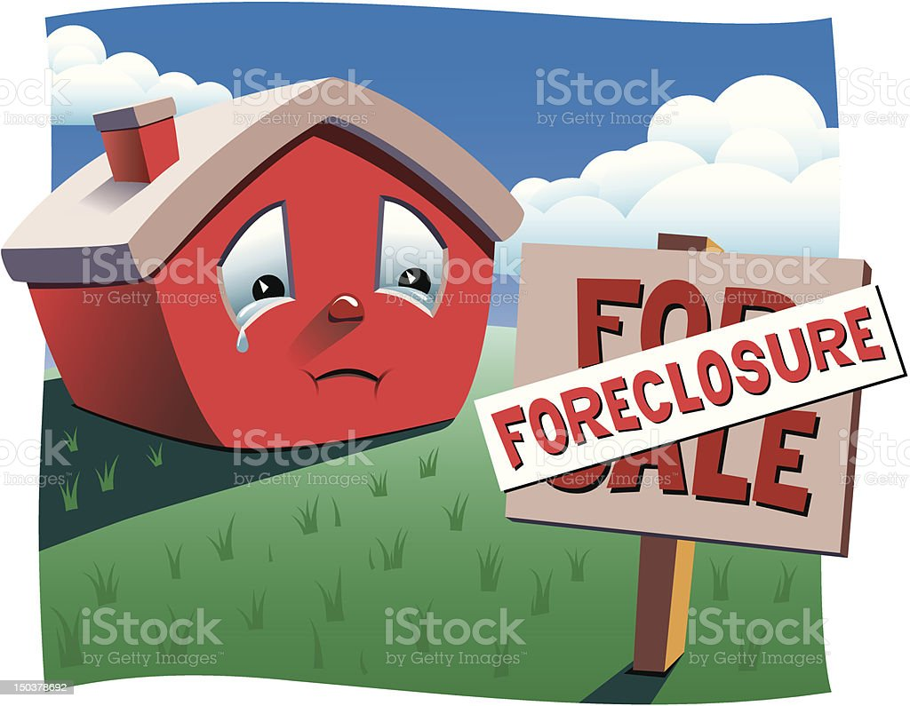 House with Foreclosure sign royalty-free house with foreclosure sign stock vector art & more images of anthropomorphic