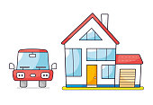 Private house with garage and car front view isolated