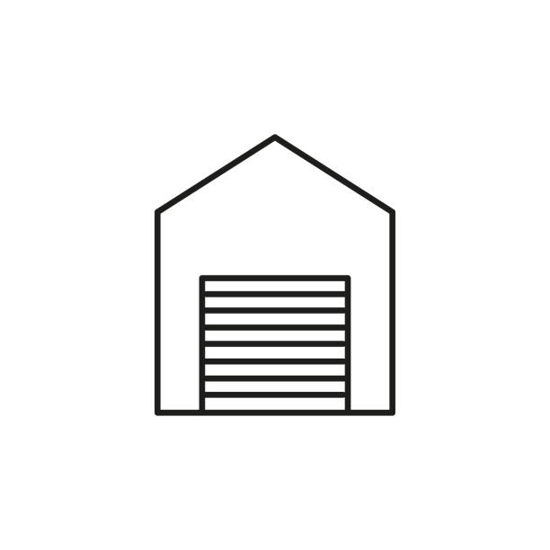 house with garage line icon vector art illustration