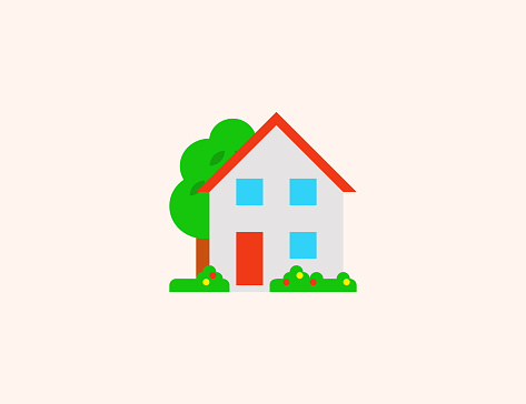 House with garden vector icon. Isolated Residential, Private Apartment House flat colored symbol