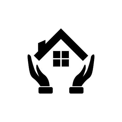 House with Hand. Vector Illustration