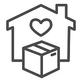 House with heart window and box line icon, Logistics delivery symbol, home delivery and cardboard package vector sign on white background, contactless delivery icon outline. Vector graphics