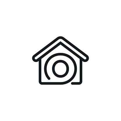 House With Initial O Letter Icon Vector Stock Illustration Design Template