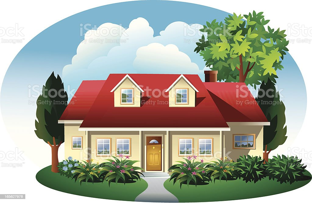 House with landscaping royalty-free stock vector art