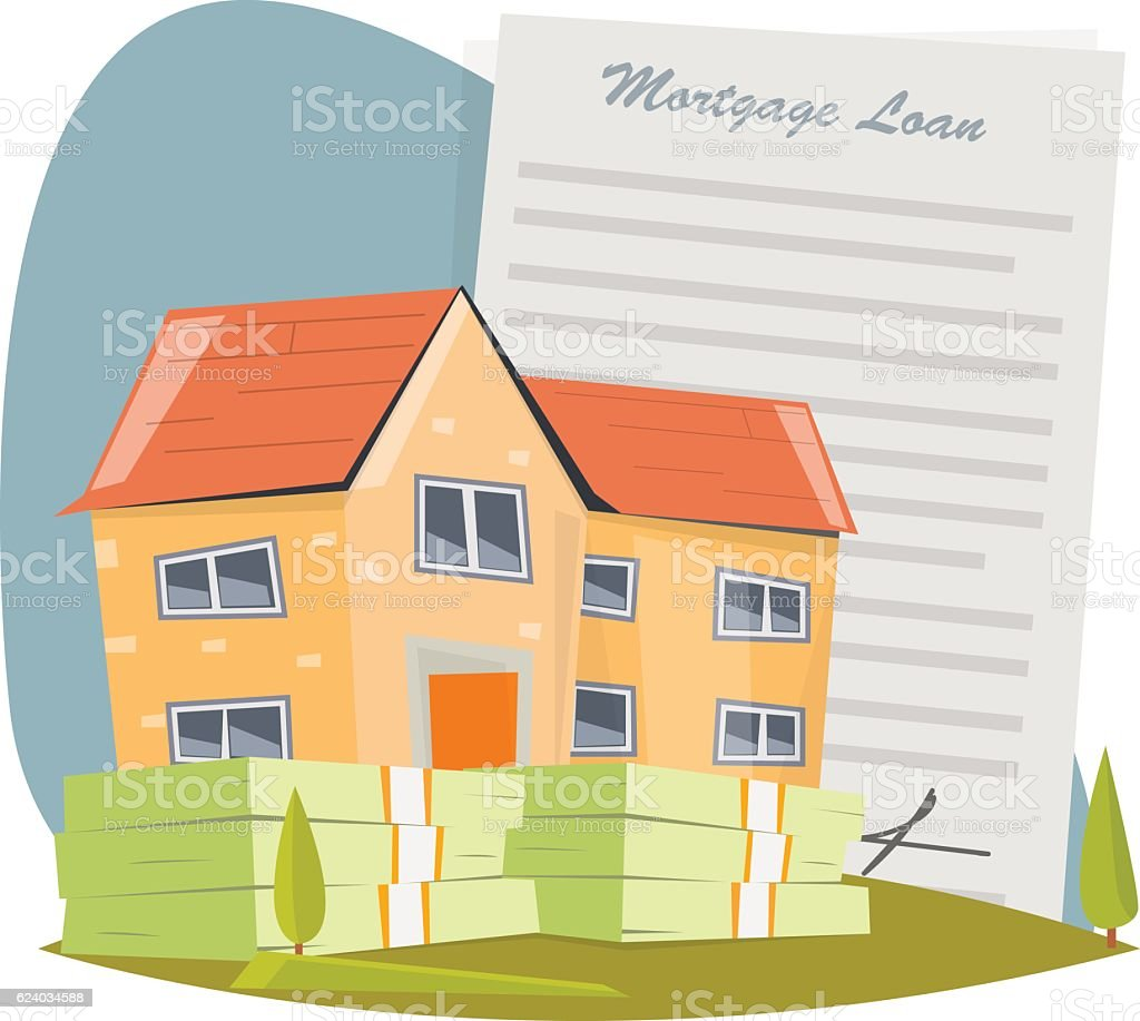 House with mortgage loan - Illustration vectorielle