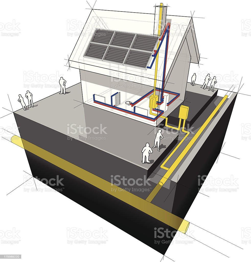 House with natural gas heating and solar panels diagram vector art illustration