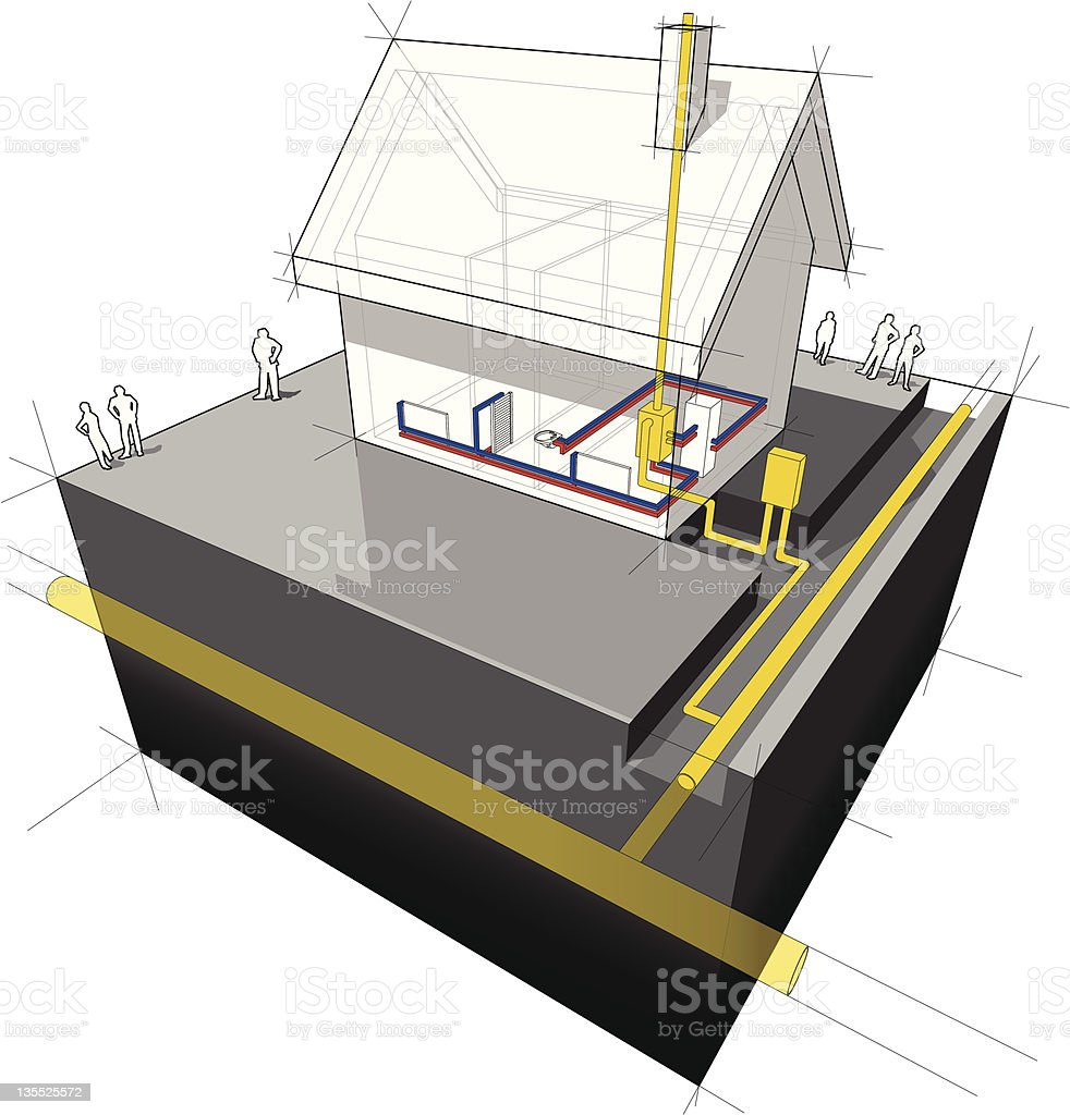 House with natural gas heating diagram vector art illustration