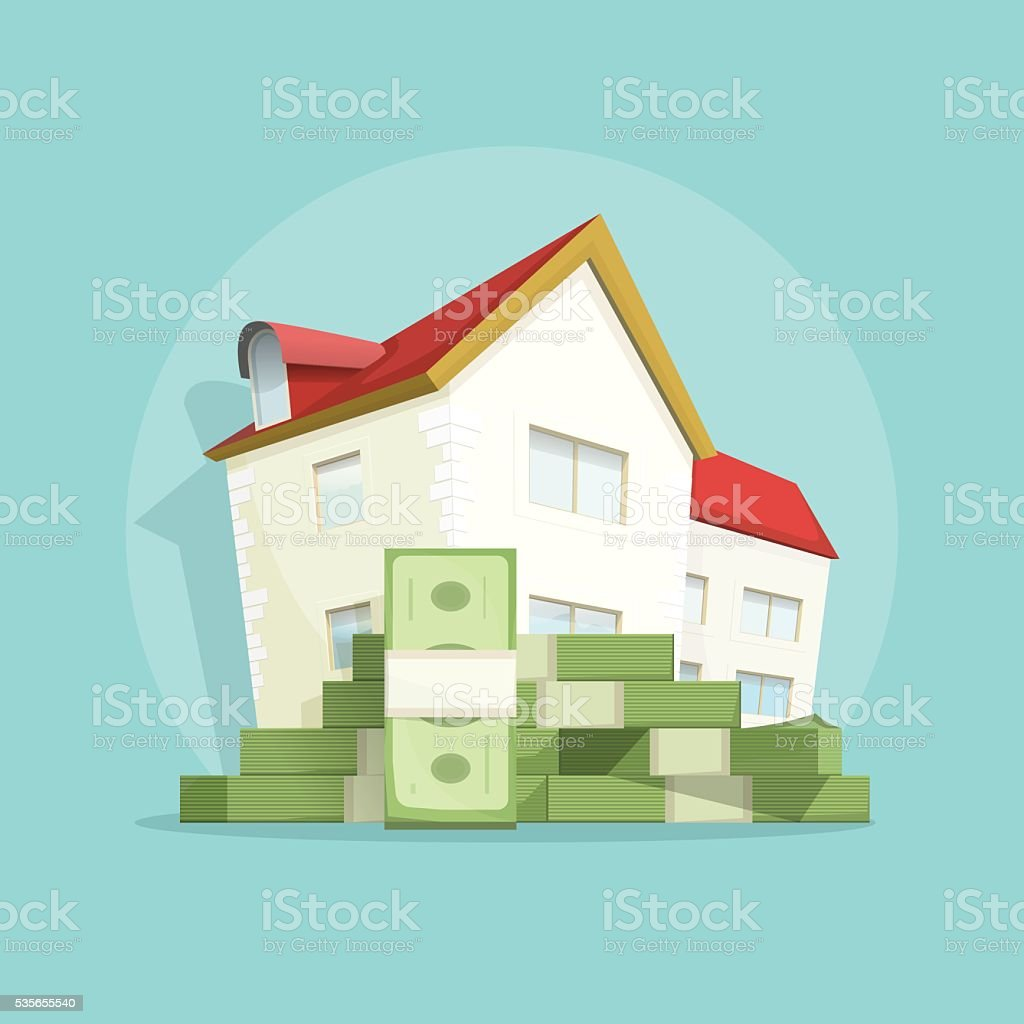 House with pile money, home expense symbol, concept mortgage loan vektör sanat illüstrasyonu