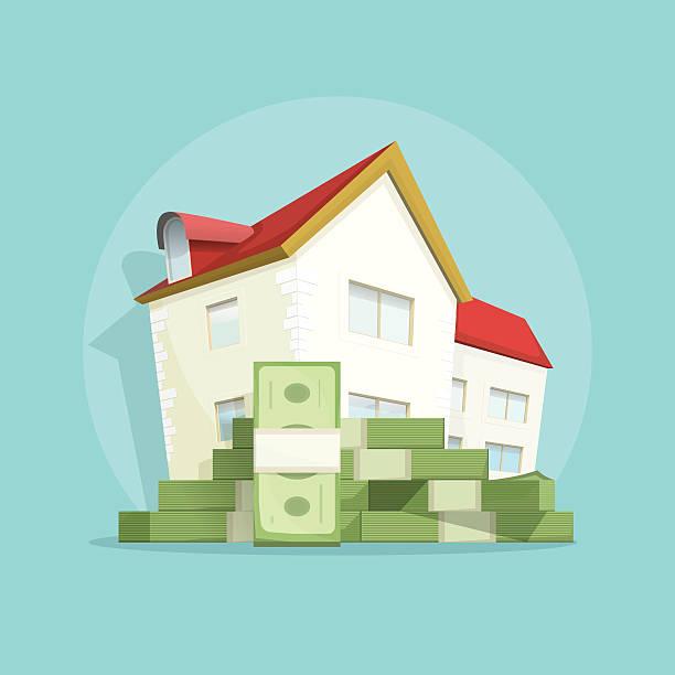 дом с начесом и деньги дом расходы символ, концепция ипотечный кредит - dollar bill stock illustrations